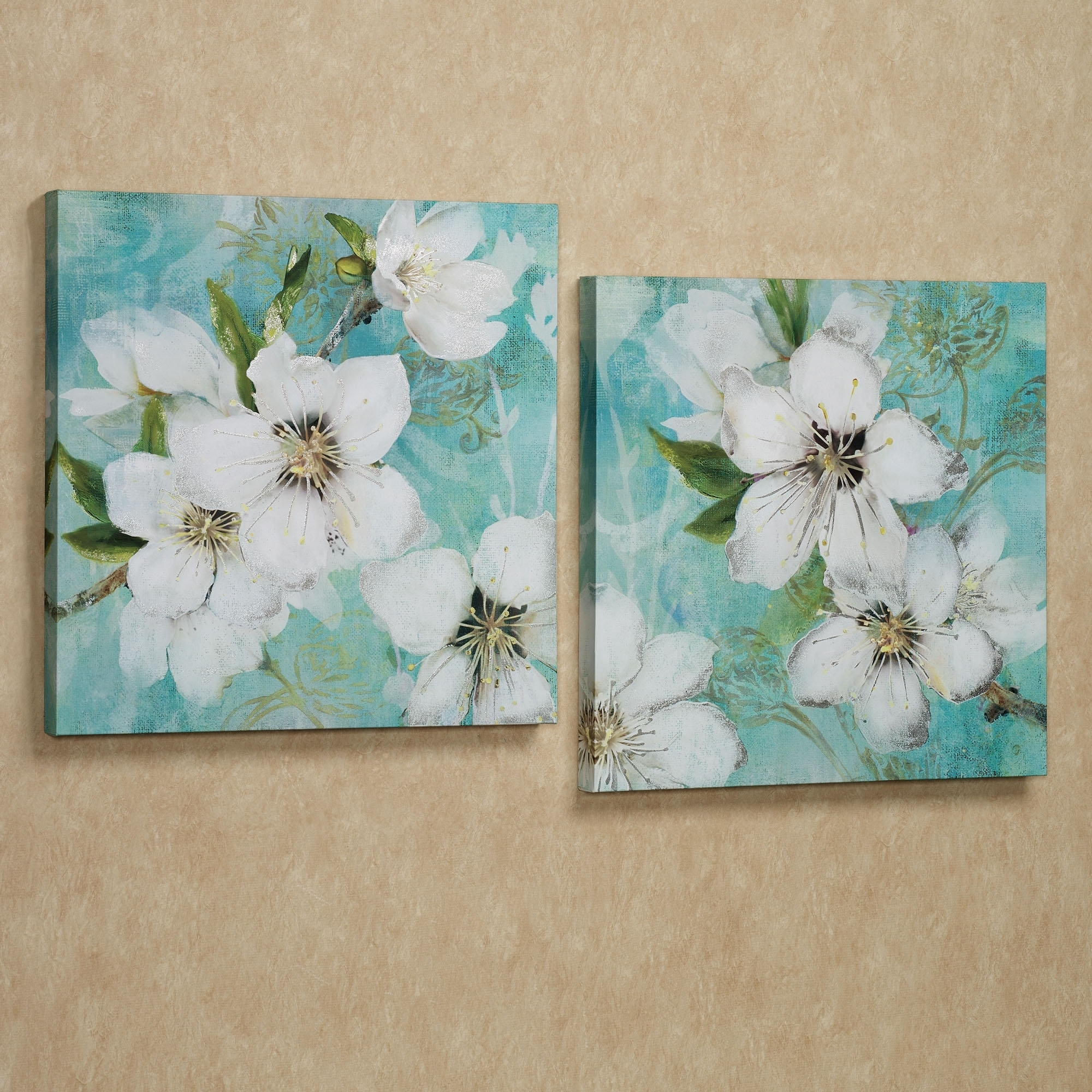 Wall Art Ideas : Flowers Bloom Giclee Wall Art Canvas White Set Intended For Current Embellished Canvas Wall Art (View 11 of 15)