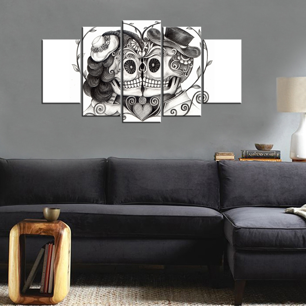 Wall Art Large Day Of The Dead Face 5 Piece Canvas Art Painting Intended For Latest Bedroom Canvas Wall Art (View 15 of 15)
