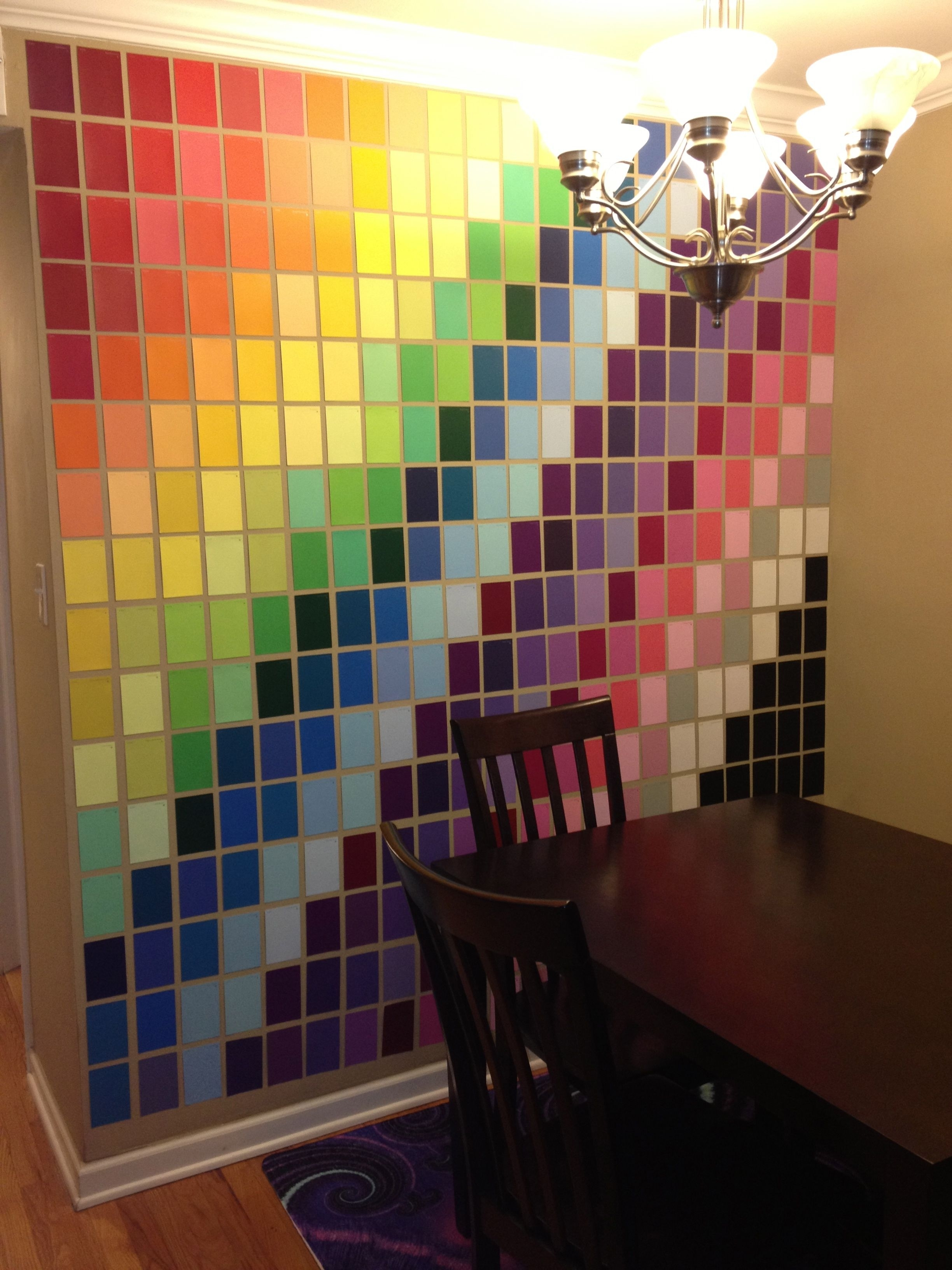 Wall Art Made With Paint Samples From Home Depot. | Art Pertaining To Most Up To Date Fabric Covered Squares Wall Art (Gallery 9 of 15)