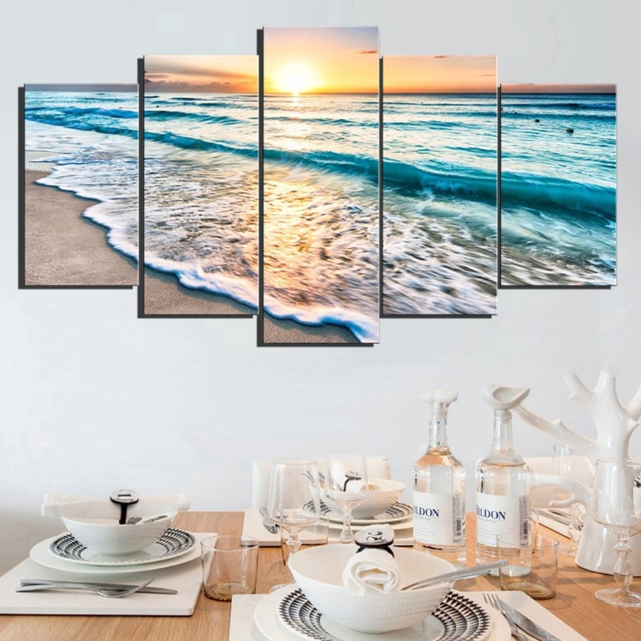 Wall Art Sunset Beach Canvas Prints Sea Wave 5Pcs Seascape With Regard To Best And Newest Ocean Canvas Wall Art (View 15 of 15)