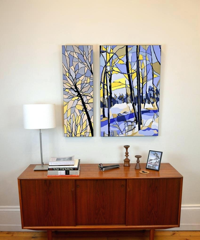 Wall Arts ~ 2 Panel Wall Art Stained Glass Yellow And Blue Winter For Most Recent Ottawa Canvas Wall Art (View 4 of 15)