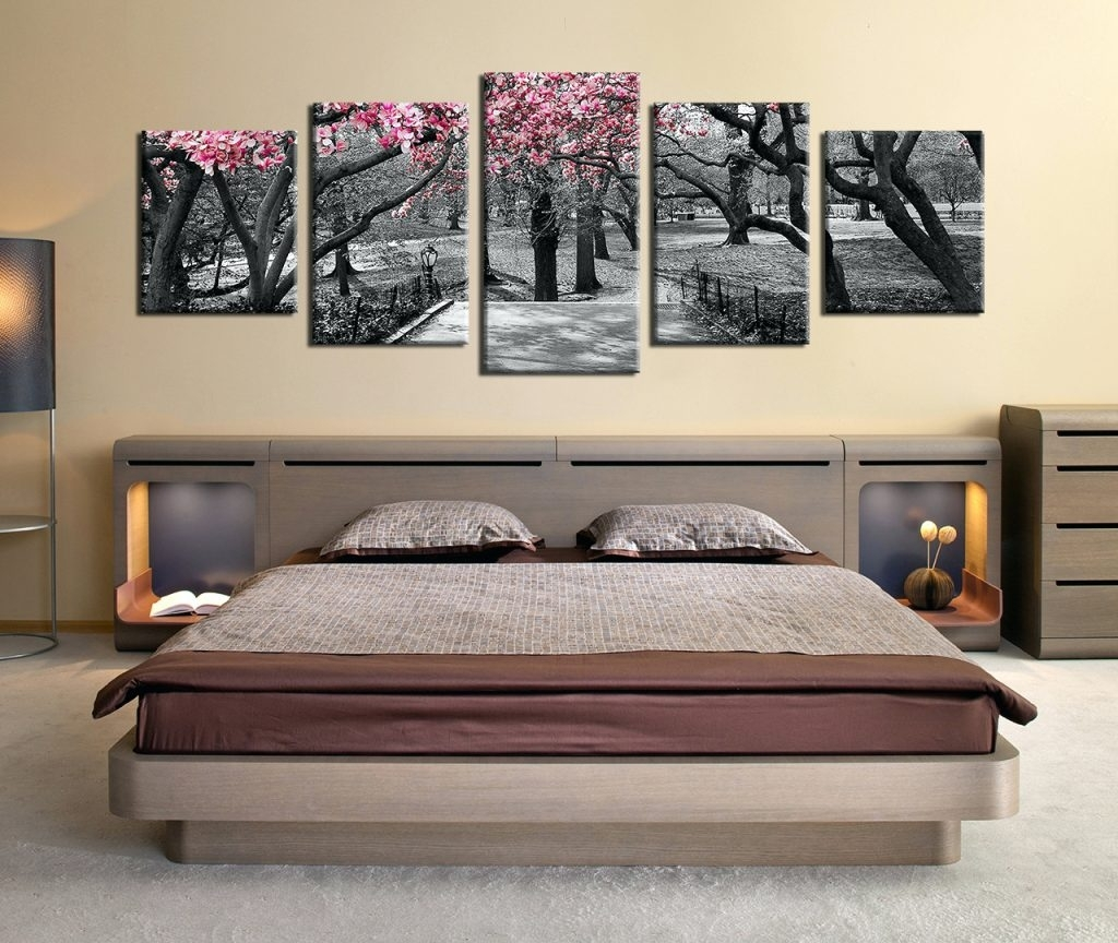Wall Arts ~ 5 Piece Huge Canvas Art Black And White Trees Art Inside 2018 Masters Canvas Wall Art (View 13 of 15)