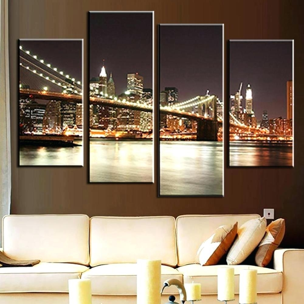 Wall Arts ~ Brooklyn Bridge At Night Canvas Wall Art Brooklyn In Latest Canvas Wall Art At Target (View 10 of 15)