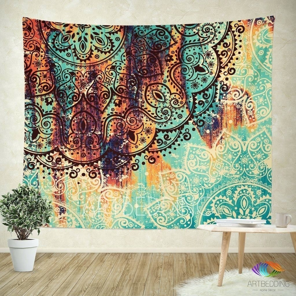 awesome Fabric Wall Decor Part - 3: Wall Arts ~ Cozy Fabric Wall Hangings For Living Room Mandala Within  Current Fabric For Wall