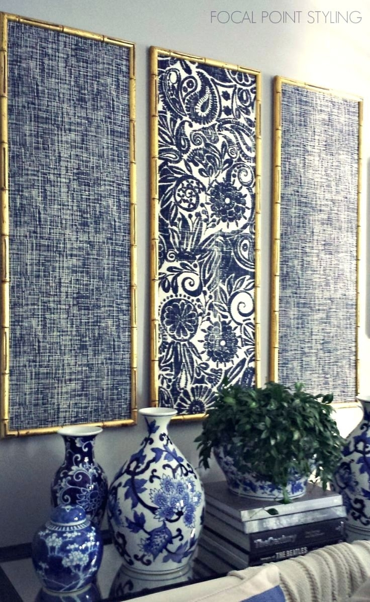 Wall Arts ~ Gold Bamboo Frames With Navy Blue Chinoiserie Fabric Intended For Best And Newest Large Fabric Wall Art (View 8 of 15)