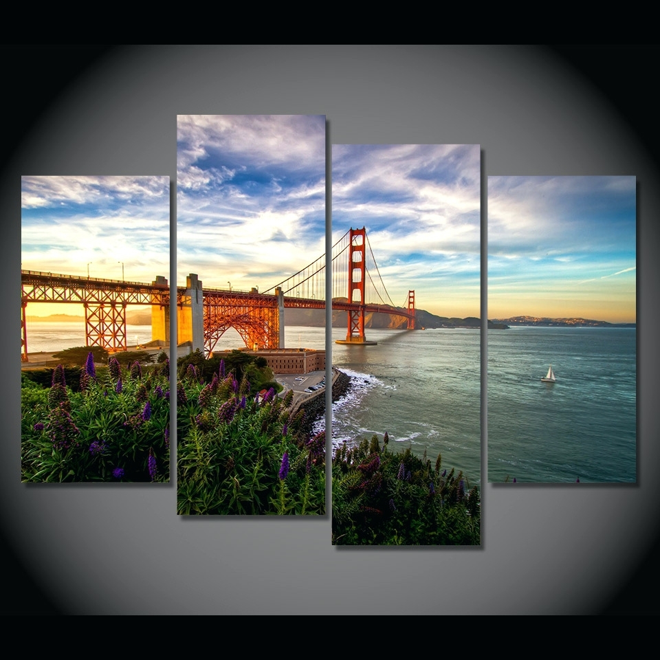 Wall Arts ~ Golden Gate Bridge Wall Canvas Golden Gate Bridge For Most Popular Golden Gate Bridge Canvas Wall Art (View 14 of 15)