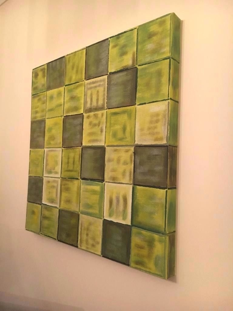 Wall Arts ~ Green Flower Embellished Canvas Wall Art Pale Green For Latest Embellished Canvas Wall Art (View 7 of 15)