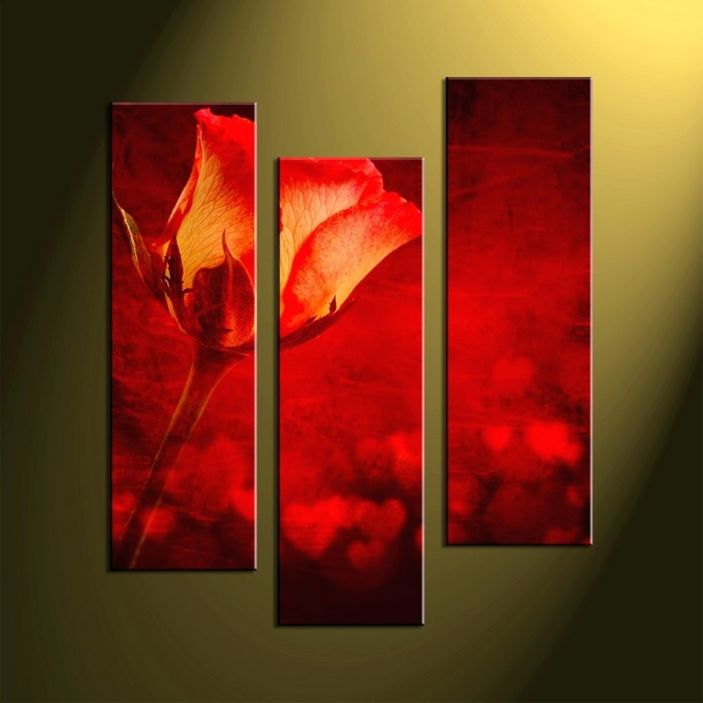 Wall Arts ~ Home Wall Decor Flower Art Scenery Wall Art 3 Piece With Recent Large Red Canvas Wall Art (View 14 of 15)