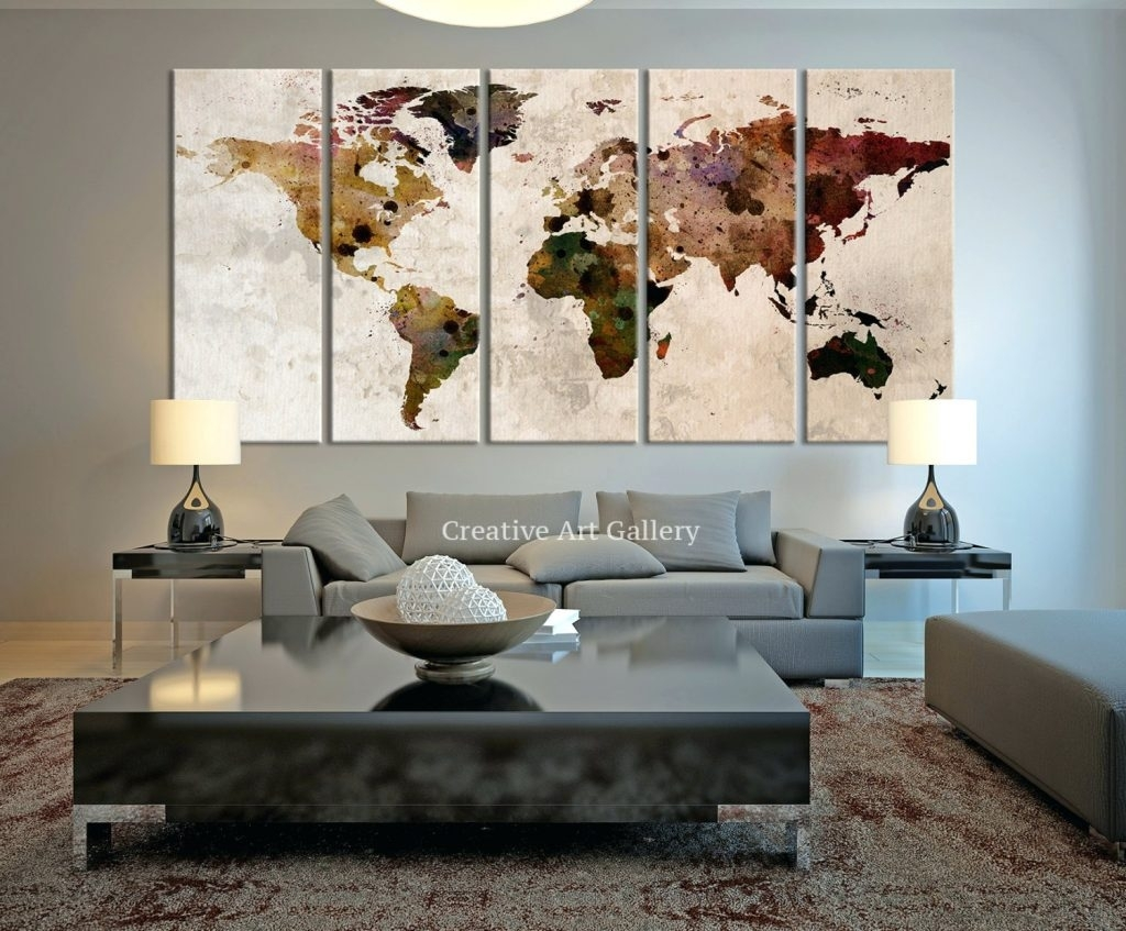 Wall Arts ~ Large Canvas Print Rustic World Map Large Wall Art Pertaining To Latest Large Canvas Wall Art Quotes (View 14 of 15)