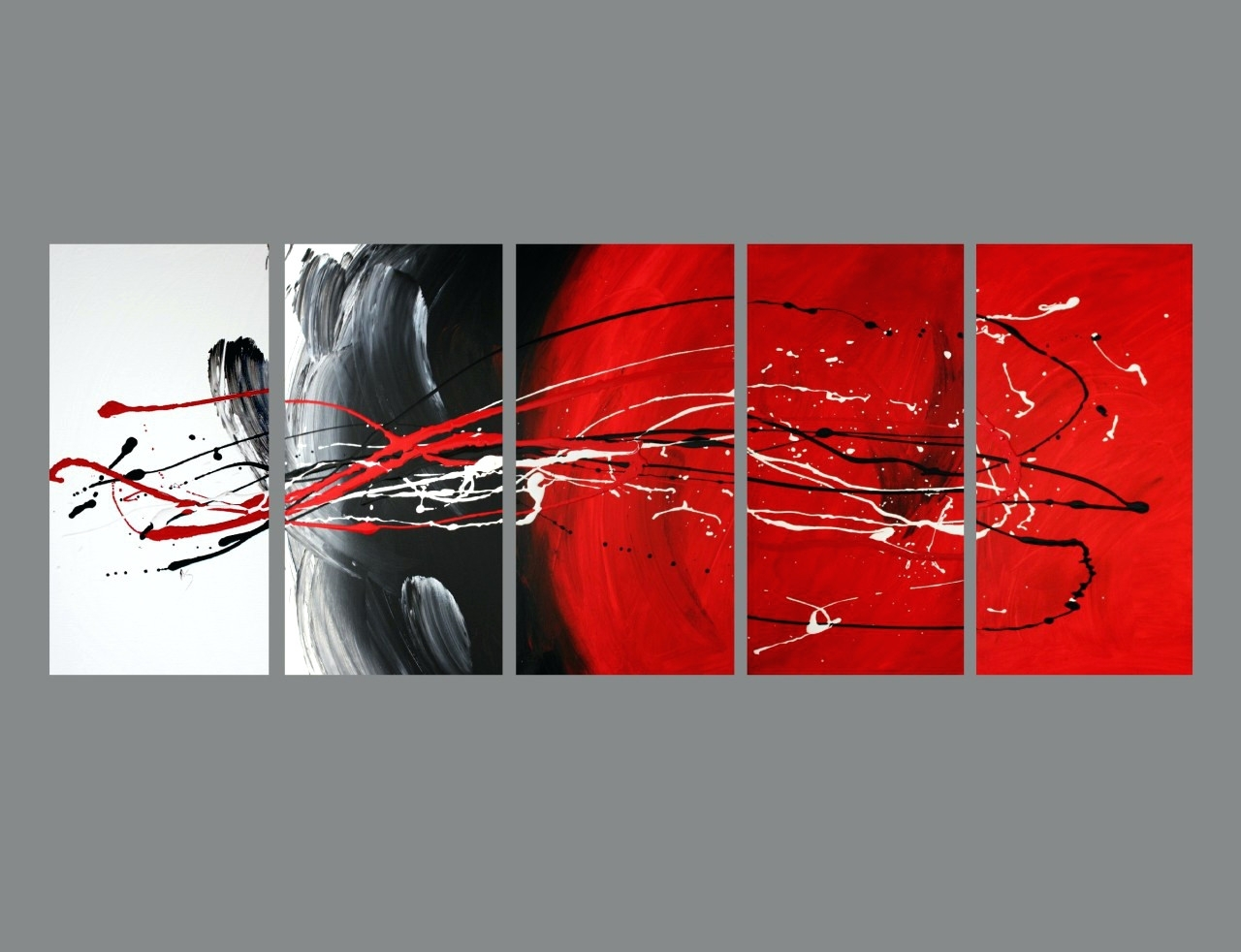 Wall Arts ~ Large Canvas Wall Art Red Red Poppy Canvas Art 5 Piece Intended For Most Recent Large Red Canvas Wall Art (View 15 of 15)