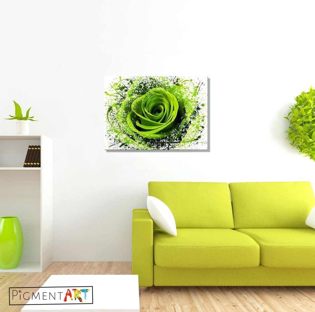 Wall Arts ~ Pale Green Canvas Wall Art Lime Green Canvas Art Green With Regard To Newest Embellished Canvas Wall Art (View 4 of 15)