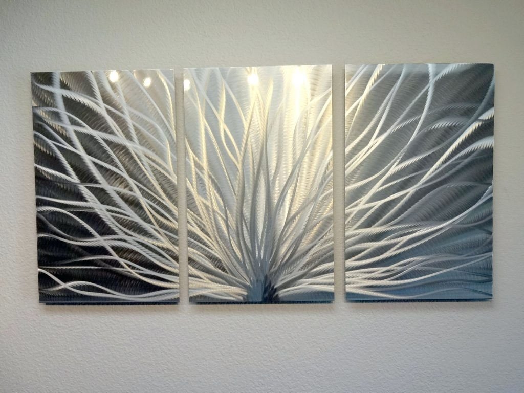 Wall Arts ~ Radiance 3 Panel Metal Wall Art Abstract Contemporary Pertaining To 2017 Canvas Wall Art Of Philippines (View 15 of 15)