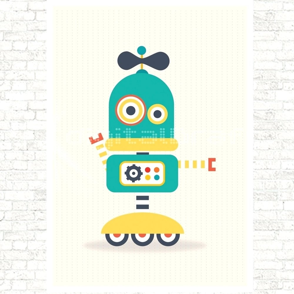 Wall Arts ~ Retro Robot Wall Art Kid Robot Wall Art Robot Canvas For Most Recently Released Robot Canvas Wall Art (Gallery 14 of 15)