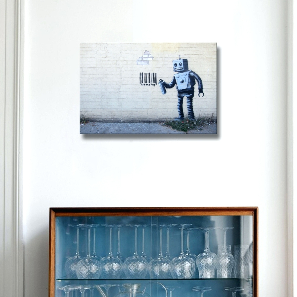 Wall Arts ~ Robot Canvas Wall Art Robot Wall Art Banksy Robot Code Inside Most Up To Date Robot Canvas Wall Art (View 12 of 15)