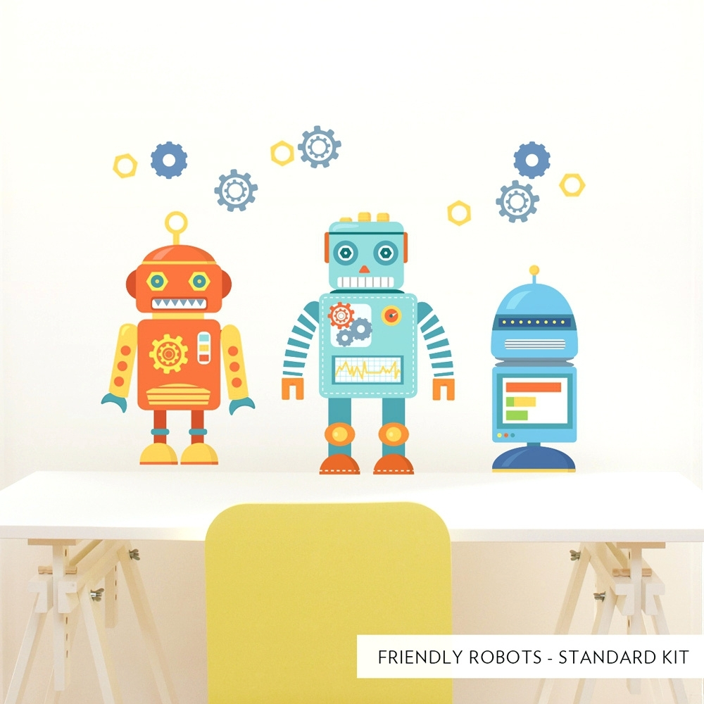 Wall Arts ~ Standard Friendly Robots Printed Wall Decal Robot Intended For Most Up To Date Robot Canvas Wall Art (View 15 of 15)