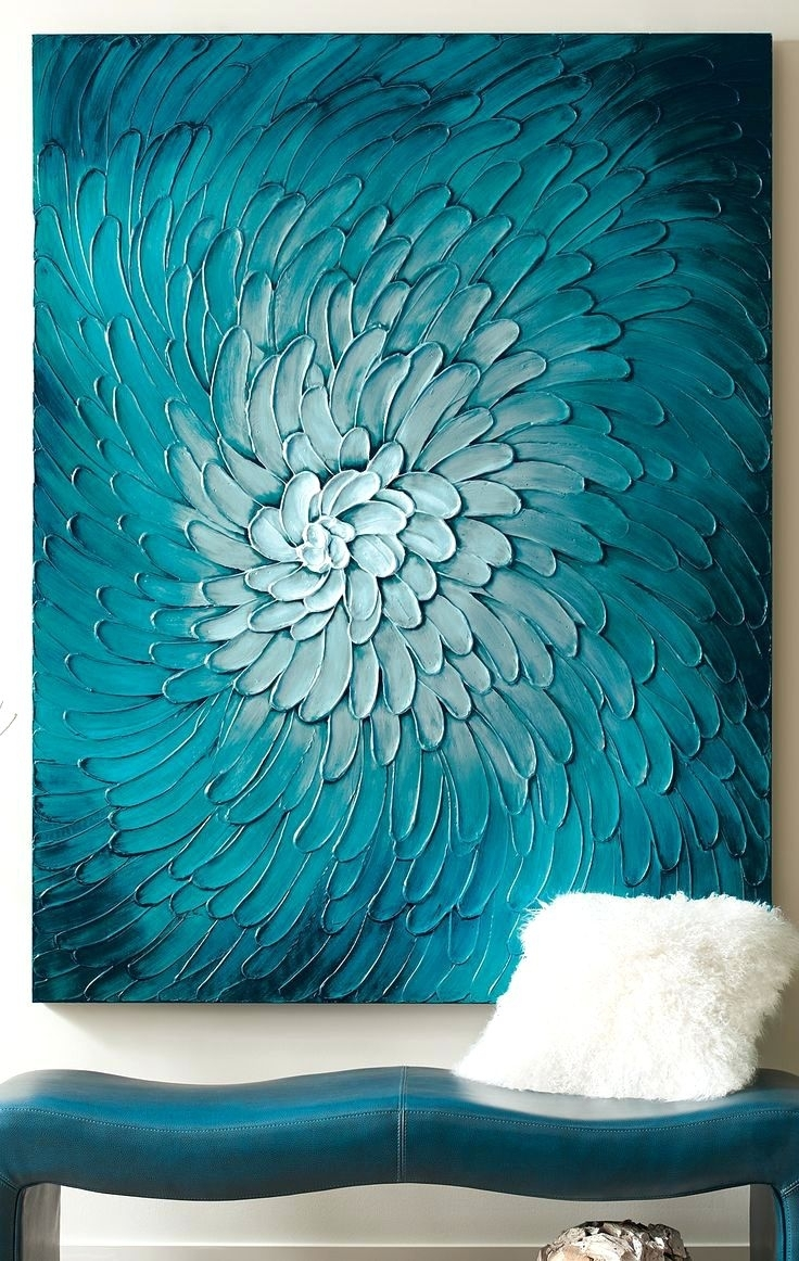 Wall Arts ~ Teal Flower Canvas Wall Art Blue Green Flower Wall Art Intended For Most Recent Navy Canvas Wall Art (View 14 of 15)