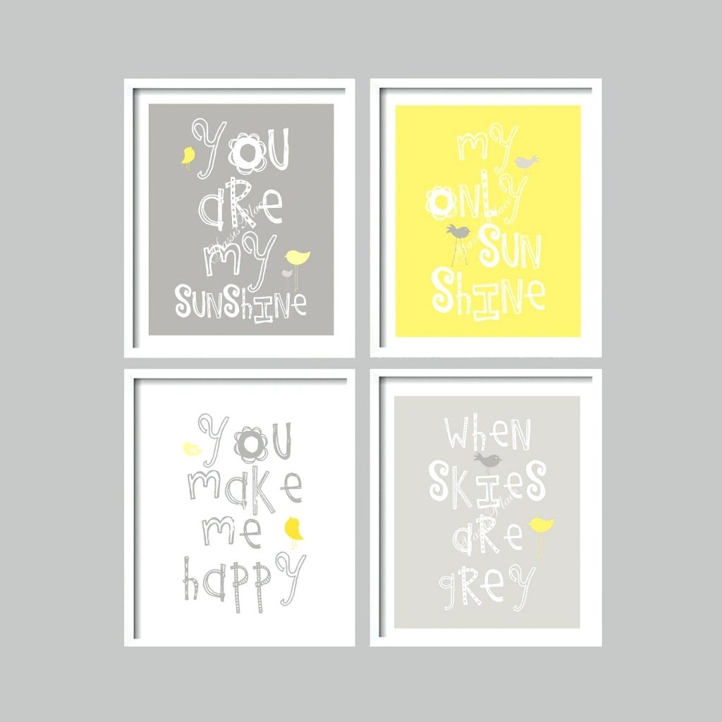 Wall Arts ~ Yellow And Gray Art Prints You Are My Sunshine Nursery Throughout Best And Newest Personalized Nursery Canvas Wall Art (View 1 of 15)