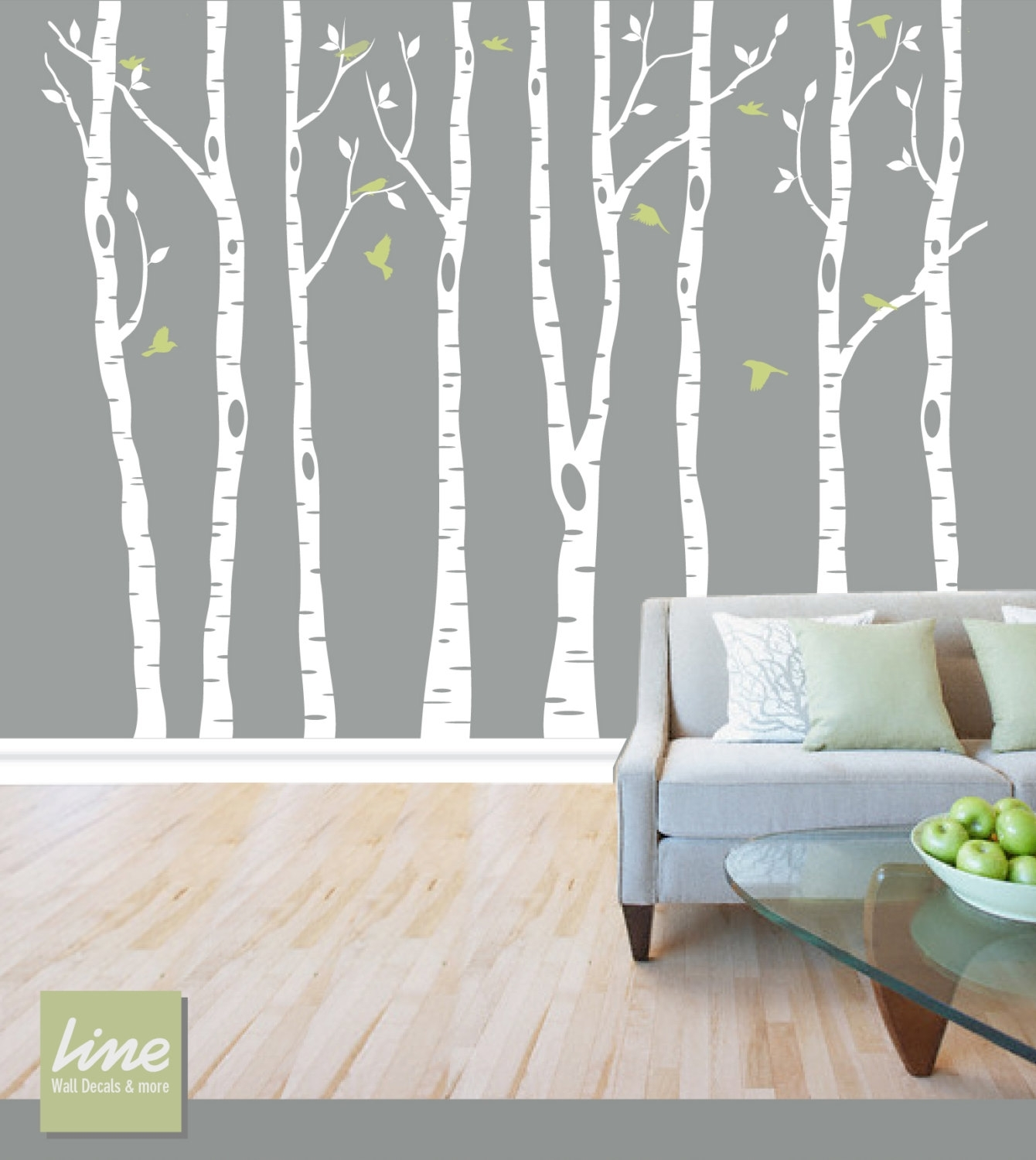 Wall Birch Tree Decal Forest, Birch Trees, Birch Trees Vinyl Throughout Most Recently Released Vinyl Stickers Wall Accents (View 12 of 15)
