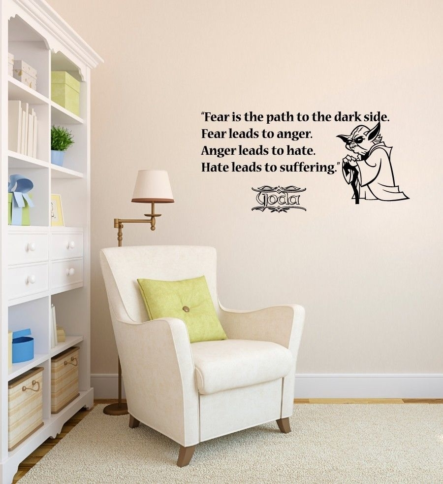 Wall Decals Quote Fear Path Dark Side Star Wars Vinyl Sticker Regarding Latest Vinyl Stickers Wall Accents (View 13 of 15)