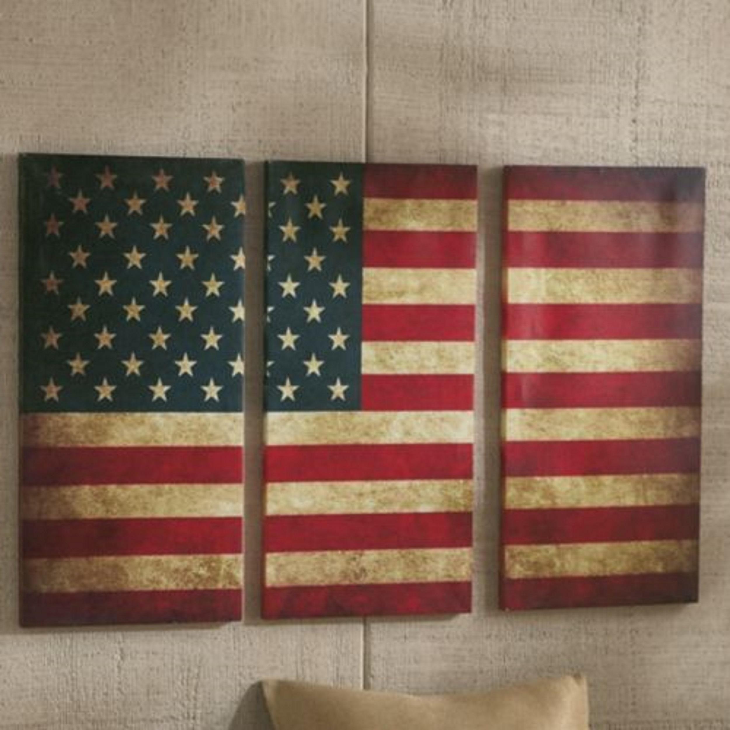 Wall Decor : 3 Piece Paintings Wrought Iron Wall Decor Canvas Art Intended For Latest American Flag Fabric Wall Art (View 15 of 15)
