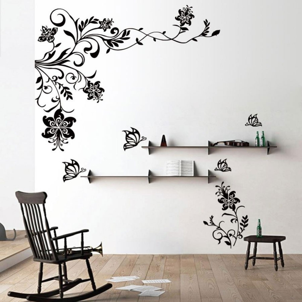 Wall Decor Awesome Stickers To Decorate Walls 2018 Black Flowers With Newest Wall Accents Stickers (View 11 of 15)