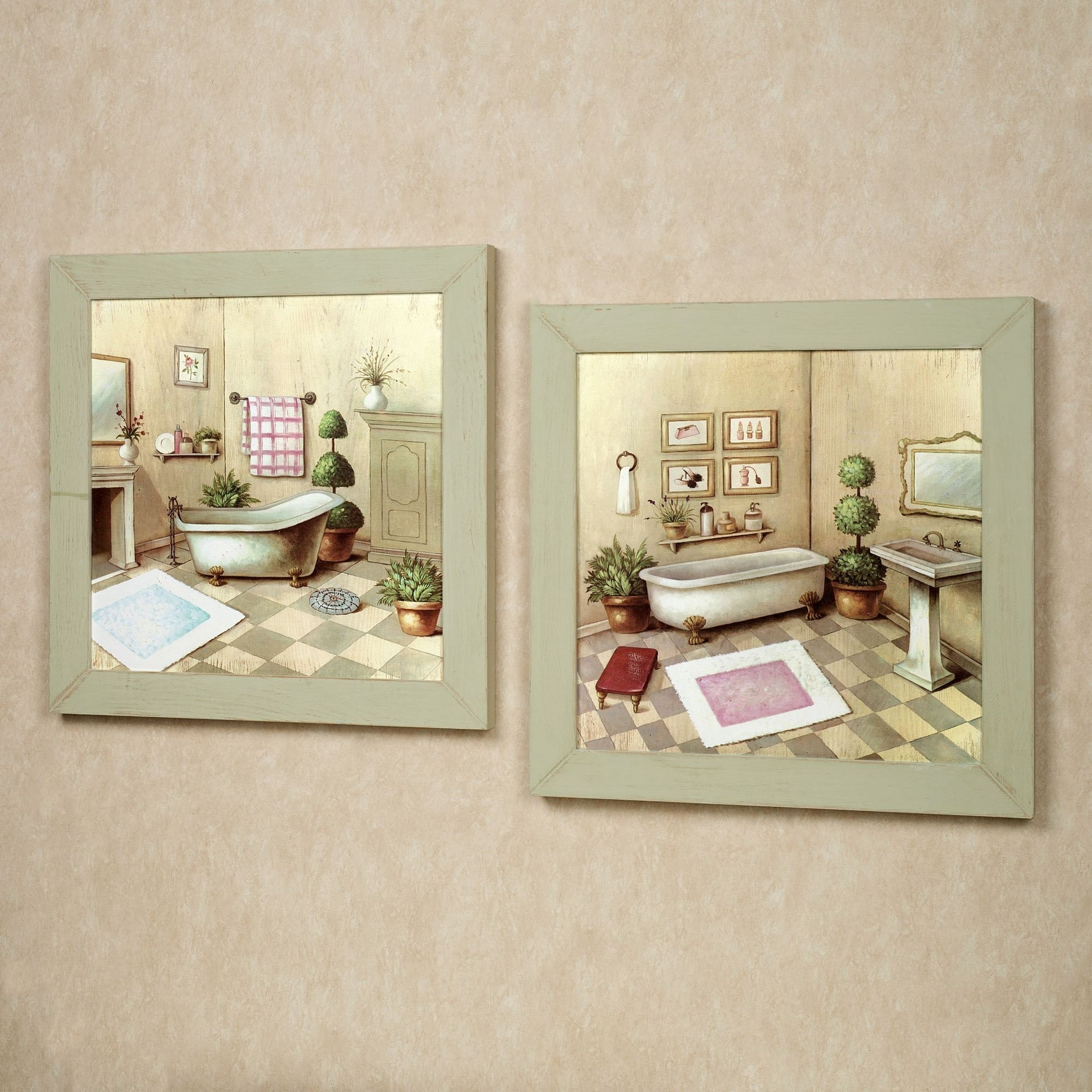 Featured Photo of Vintage Bath Framed Art Prints Set of 3