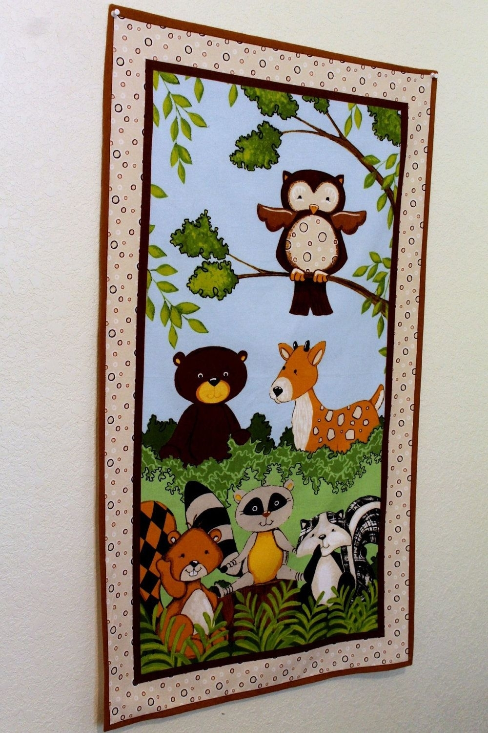 Wall Decor Woodland Animal Forest Creatures Flannel Fabric Panel Regarding Current Baby Nursery Fabric Wall Art (View 14 of 15)