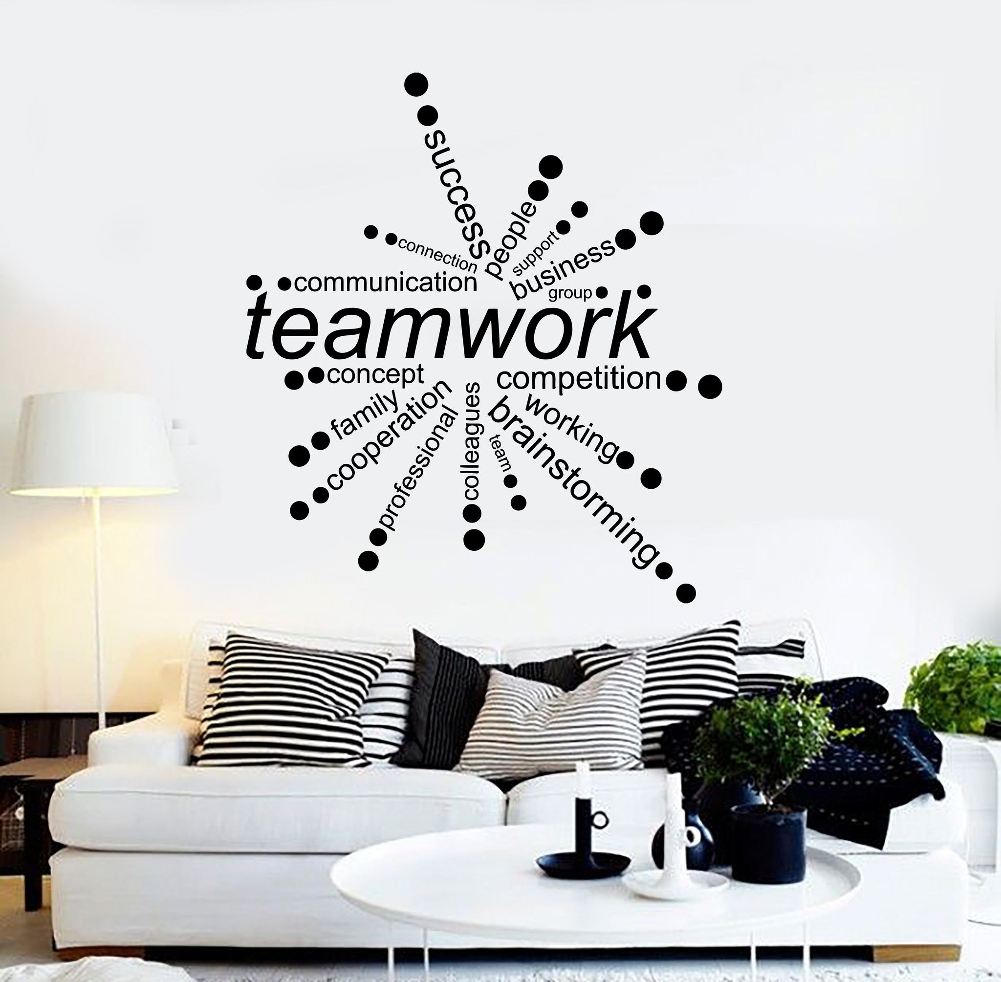 Wall Decorations For Office Luxury Vinyl Wall Decal Teamwork Words With Current Vinyl Wall Accents (View 7 of 15)