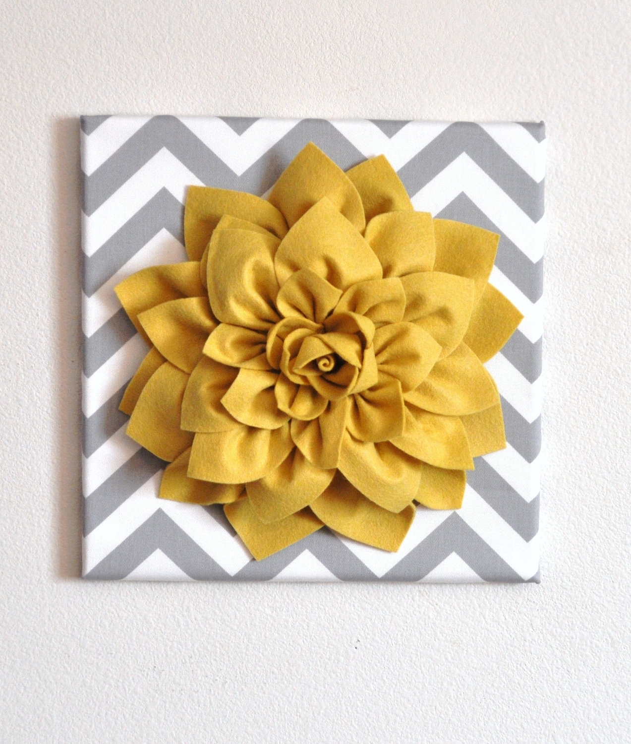Wall Flower Mellow Yellow Dahlia On Gray And White Chevron 12 X12 Throughout Recent Fabric Flower Wall Art (View 3 of 15)