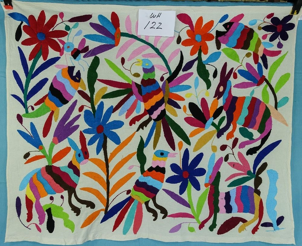 Wall Hanging, Mexican Textile , Otomi Fabric, Hand Embroidered In Most Recently Released Mexican Fabric Wall Art (View 6 of 15)