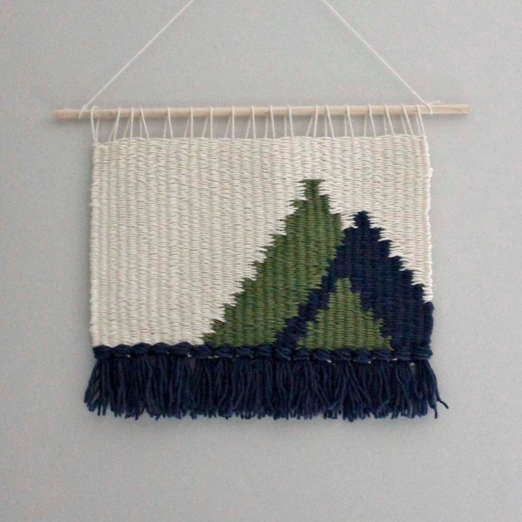 Wall Hanging, Modern Weaving, Christmas Winter Decor, Fiber Art Regarding Newest Woven Fabric Wall Art (View 13 of 15)
