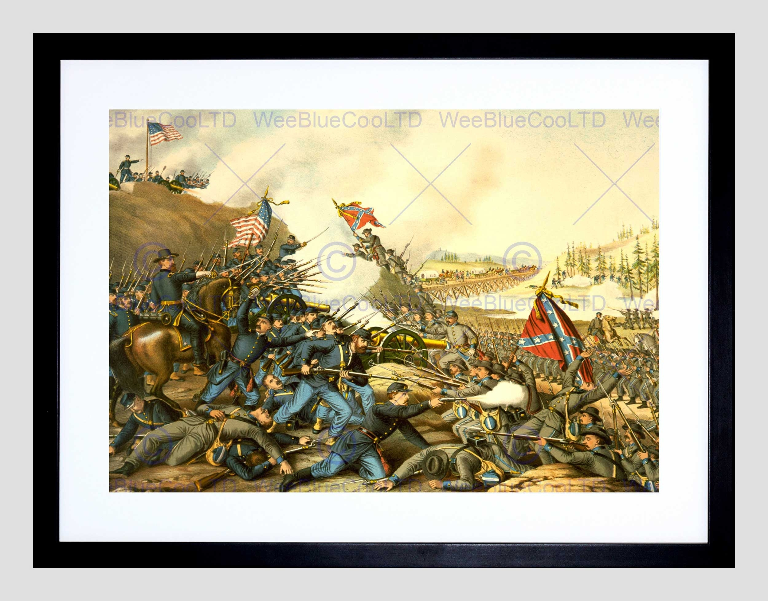 War American Civil Battle Franklin Union Confederate Framed Art With Regard To Newest Confederate Framed Art Prints (View 15 of 15)