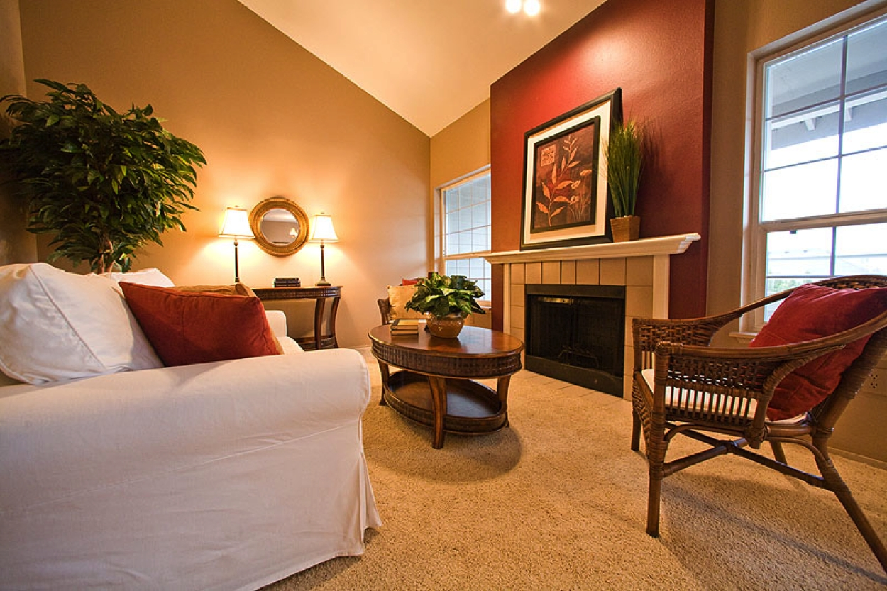 Warm Living Room Nuanced Using Beige Wall Accents Paint Feat For 2017 Wall Accents For Narrow Room (View 14 of 15)