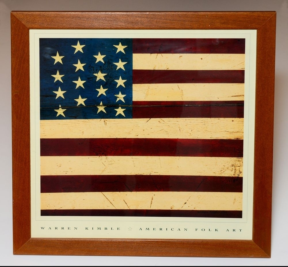 Warren Kimble American Folk Art Colonial Flag Framed Print 17 For Most Recent American Folk Art Framed Prints (Gallery 1 of 15)