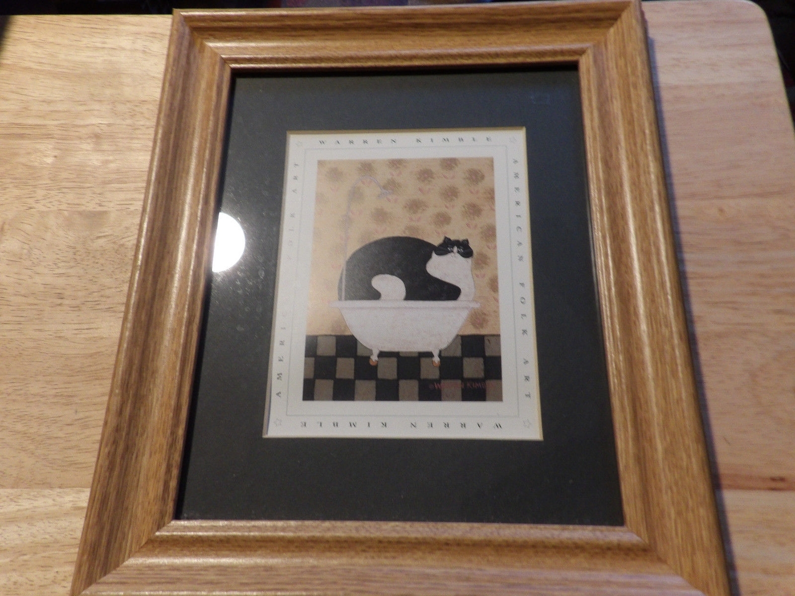 Warren Kimble American Folk Art Print Cat In A Hot Tin Tub Oak Throughout Latest American Folk Art Framed Prints (View 5 of 15)