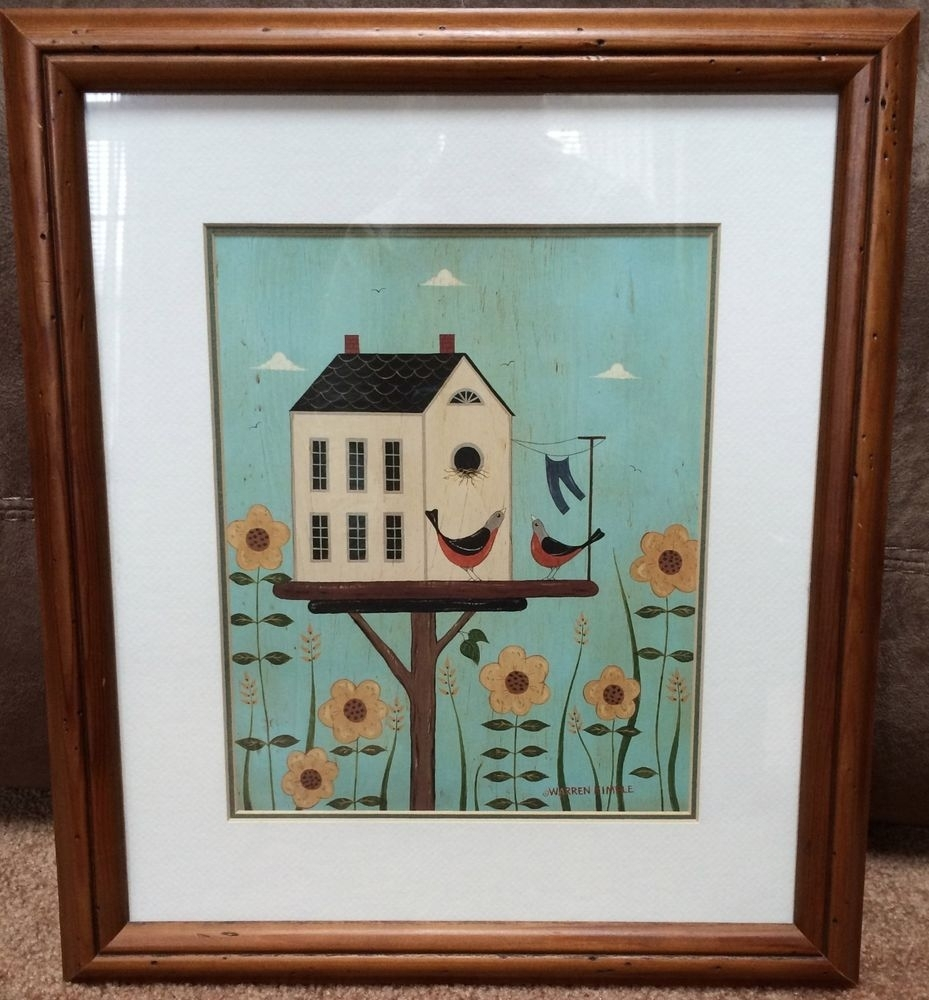 "Warren Kimble Framed Art Print Birds Birdhouse Country Decor 14"" X In Most Recent Framed Folk Art Prints (Gallery 3 of 15)"