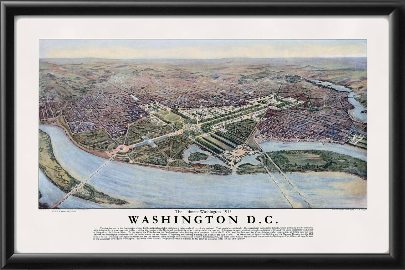 Washington Dc 1915 – Vintage City Maps, Restored City Maps Pertaining To Most Up To Date Washington Dc Framed Art Prints (View 12 of 15)