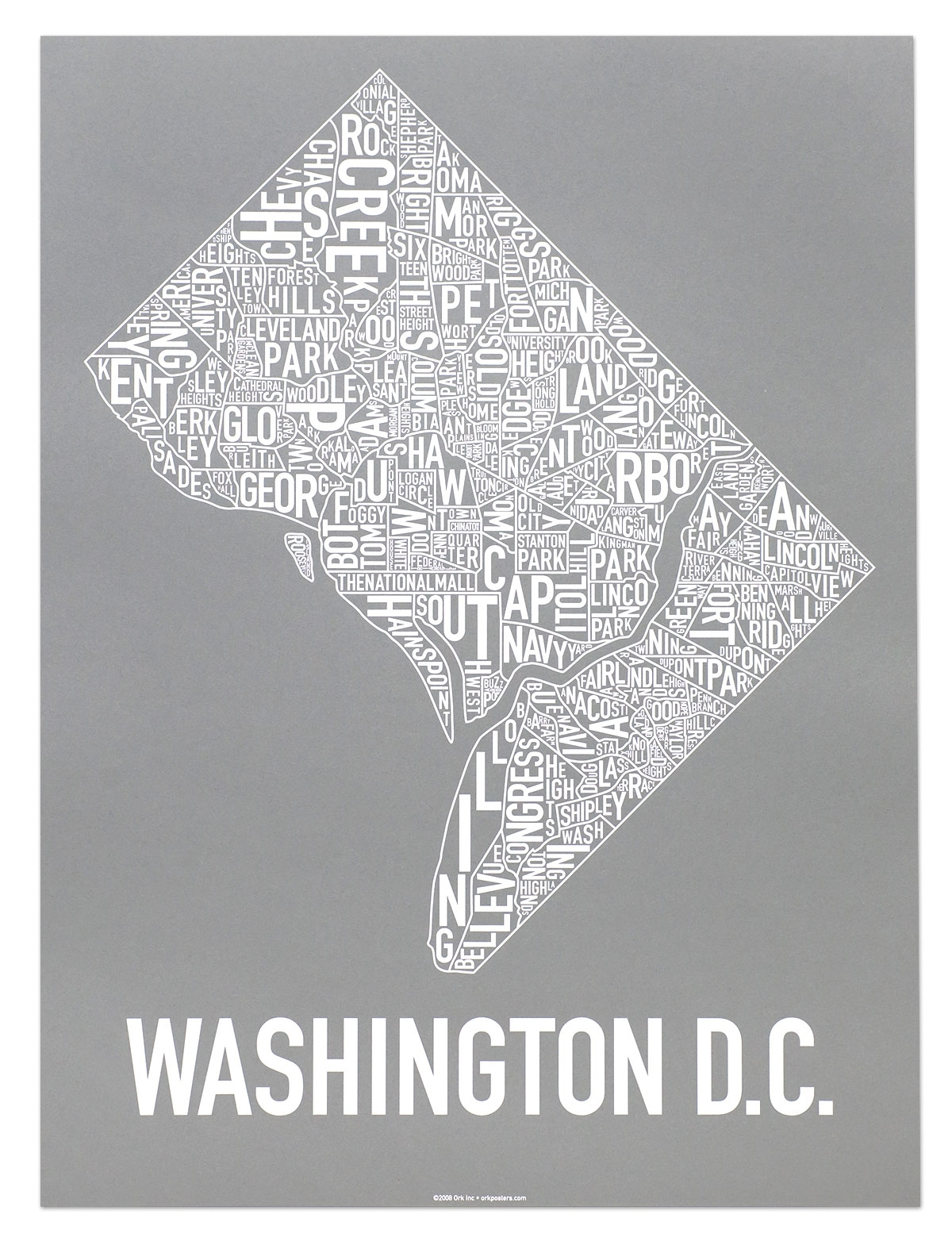 """Washington Dc Neighborhood Map 18"""" X 24"""" Monumental Grey Screenprint Intended For Best And Newest Washington Dc Framed Art Prints (View 9 of 15)"""