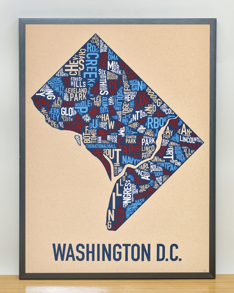 "Washington Dc Neighborhood Map 18"" X 24"" Multi Color Screenprint Intended For 2017 Washington Dc Framed Art Prints (View 14 of 15)"