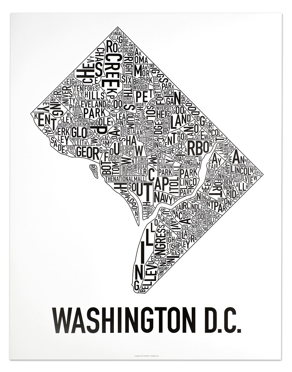 Washington Dc Neighborhood Map Posters & Prints – Modern Wall Decor Inside Best And Newest Washington Dc Framed Art Prints (View 15 of 15)