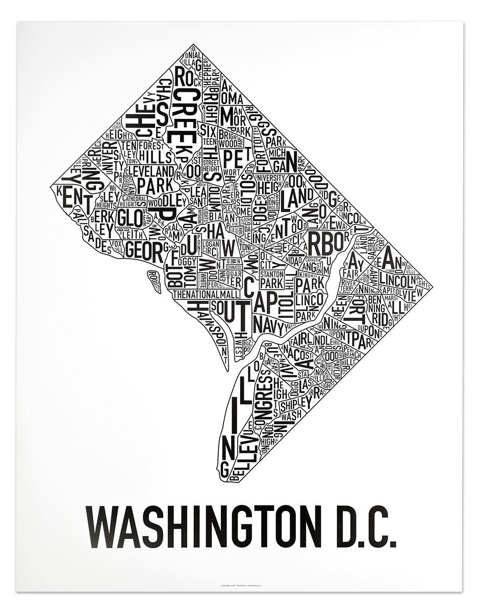 Washington Dc Neighborhood Map Posters & Prints – Modern Wall Decor Inside Best And Newest Washington Dc Framed Art Prints (View 10 of 15)