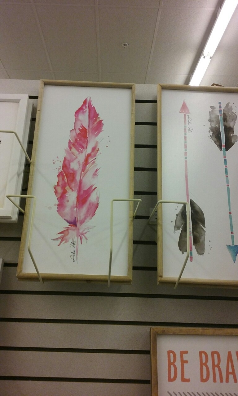 Water Colored Paintings,pink Feather & Arrows/hobby Lobby 50%off Within Latest Canvas Wall Art At Hobby Lobby (View 7 of 15)