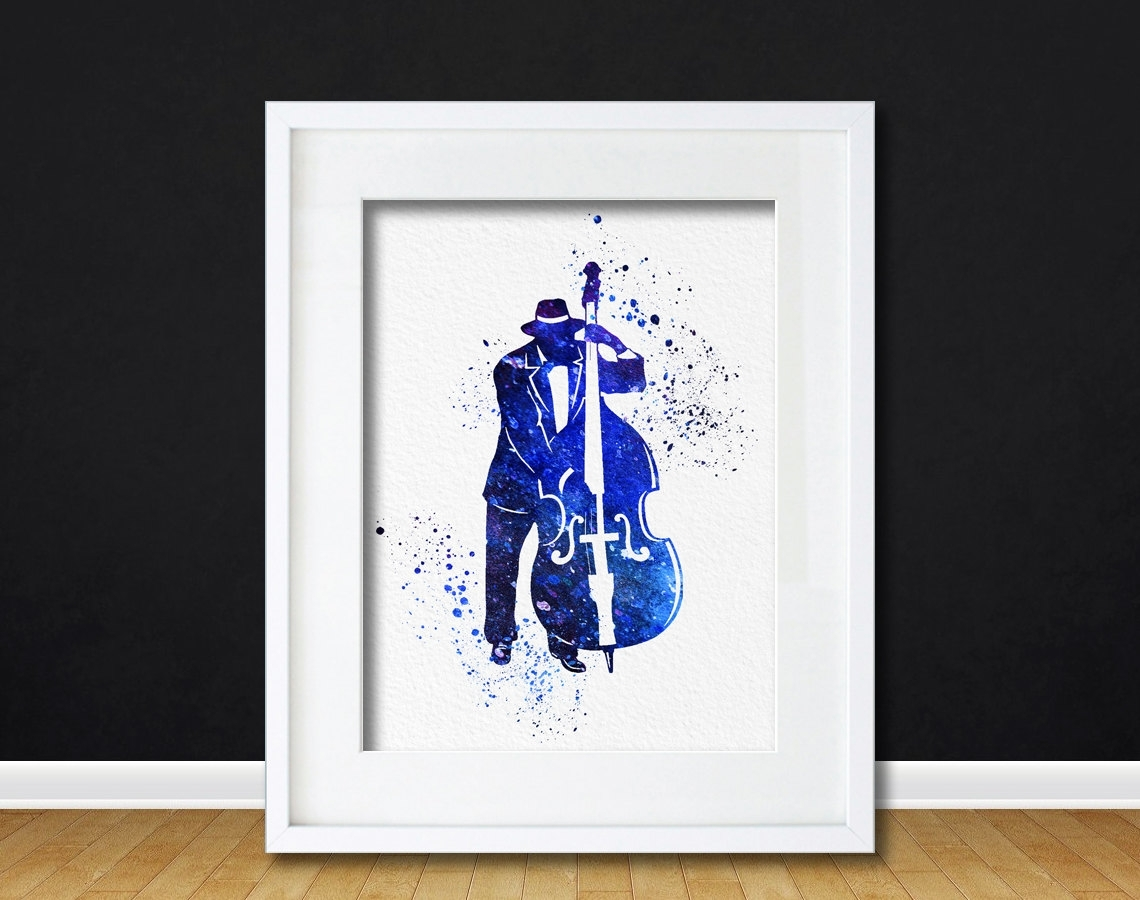 Watercolor Art Print Bass Jazz Player Modern 8X10 Wall Art Decor Throughout Most Recently Released Bass Framed Art Prints (View 14 of 15)