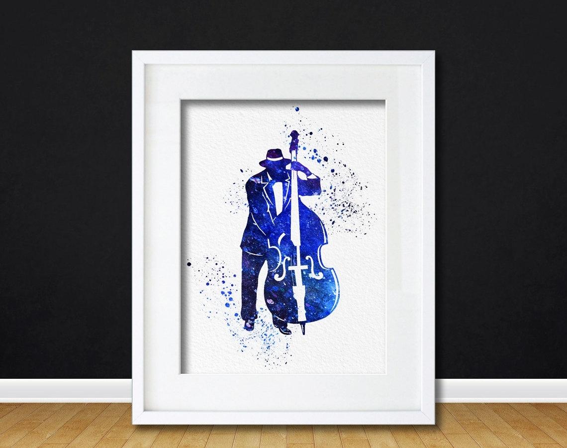 Watercolor Art Print Bass Jazz Player Modern 8x10 Wall Art Decor Throughout Most Recently Released Bass Framed Art Prints (View 2 of 15)