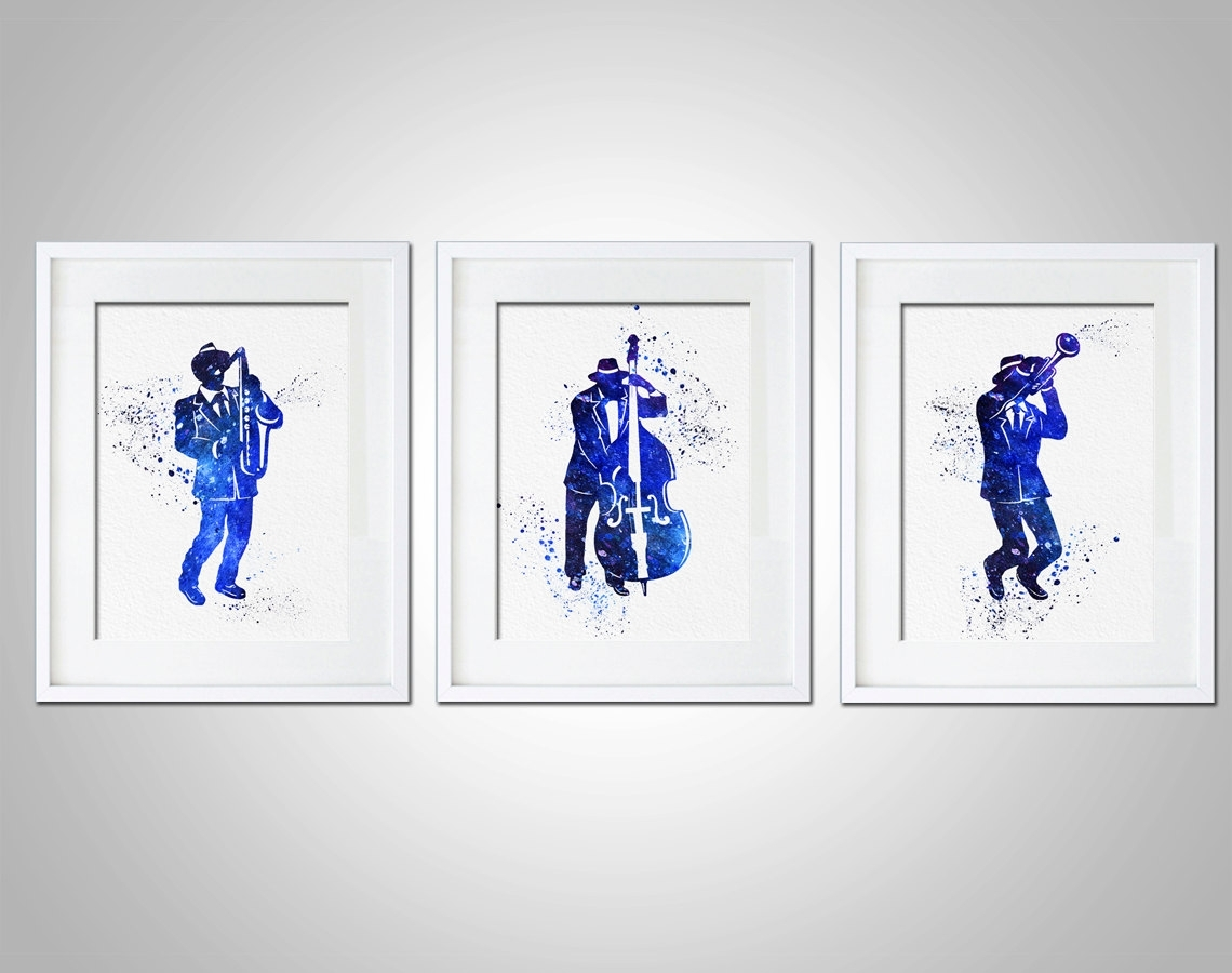 Watercolor Art Print Jazz Band Set Of 3 Modern 8X10 Wall Art Decor Regarding Most Recently Released Bass Framed Art Prints (View 15 of 15)