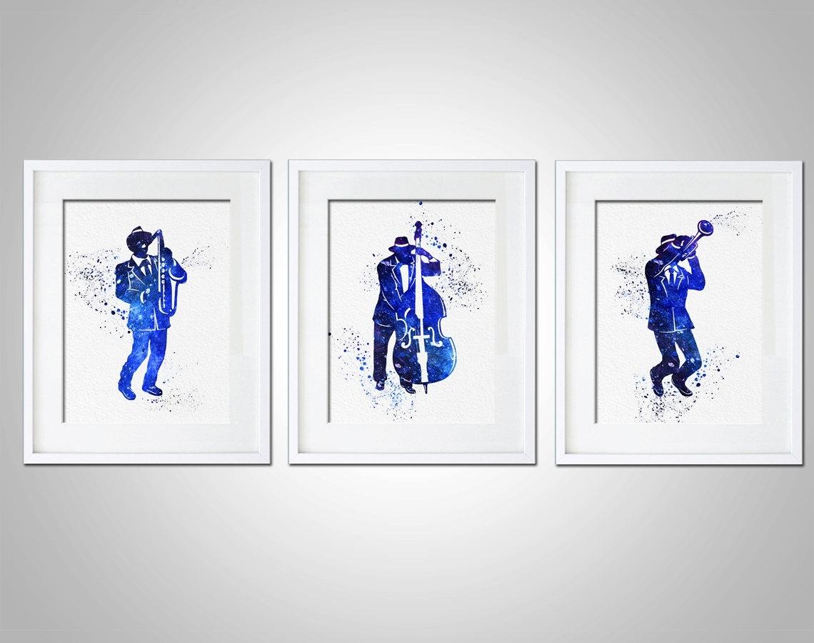 Watercolor Art Print Jazz Band Set Of 3 Modern 8x10 Wall Art Decor Regarding Most Recently Released Bass Framed Art Prints (View 5 of 15)
