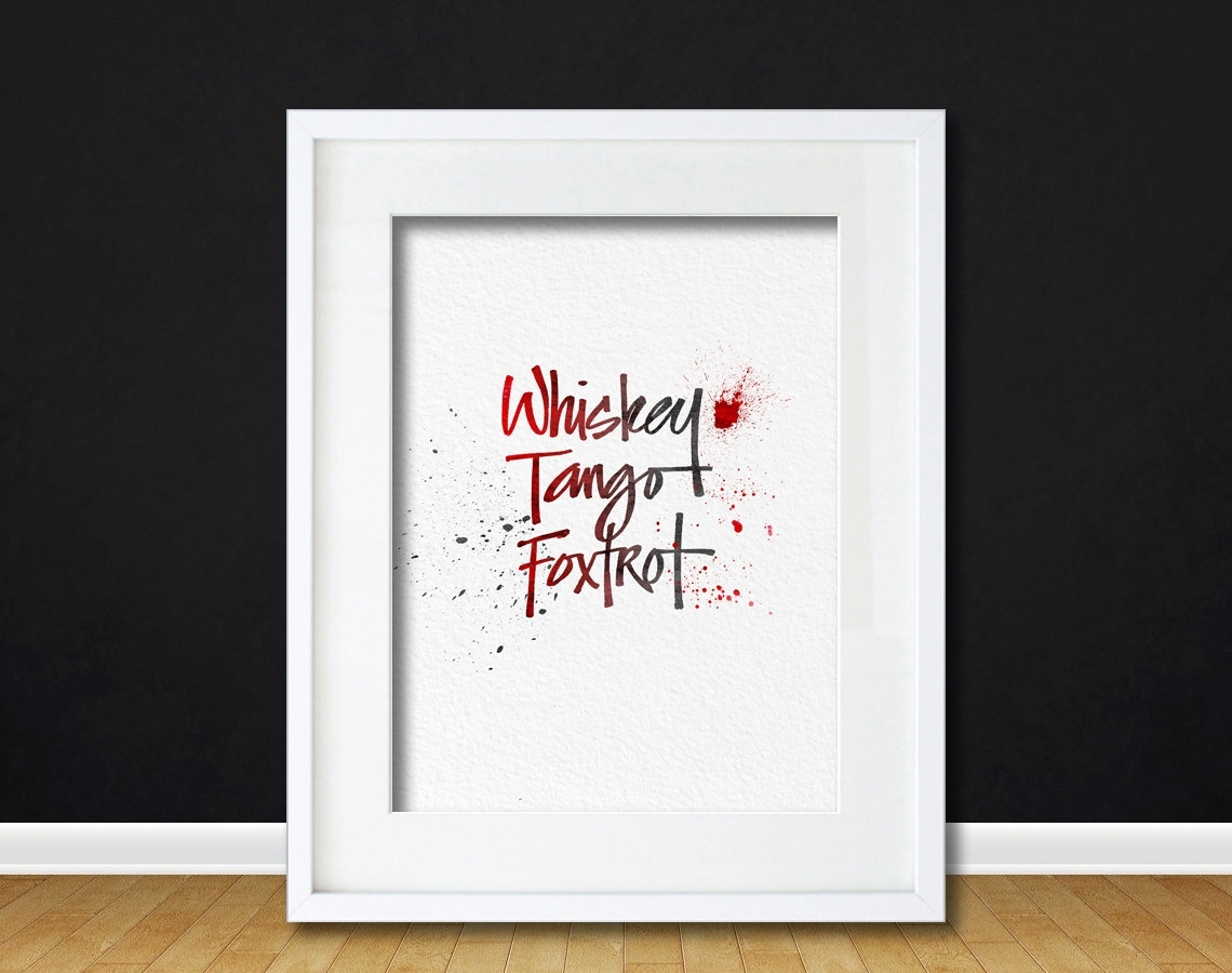 Watercolor Art Wtf Whiskey Tango Foxtrot Message Funny Gift Modern For 2017 Canvas Wall Art Funny Quotes (View 15 of 15)