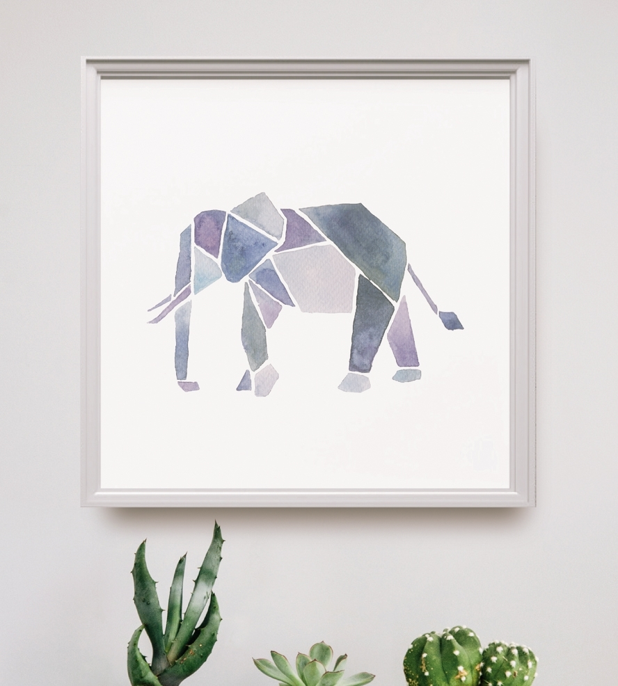 Watercolor Geometric Animal Art Print | Art Prints & Posters Intended For Best And Newest Framed Animal Art Prints (View 3 of 15)