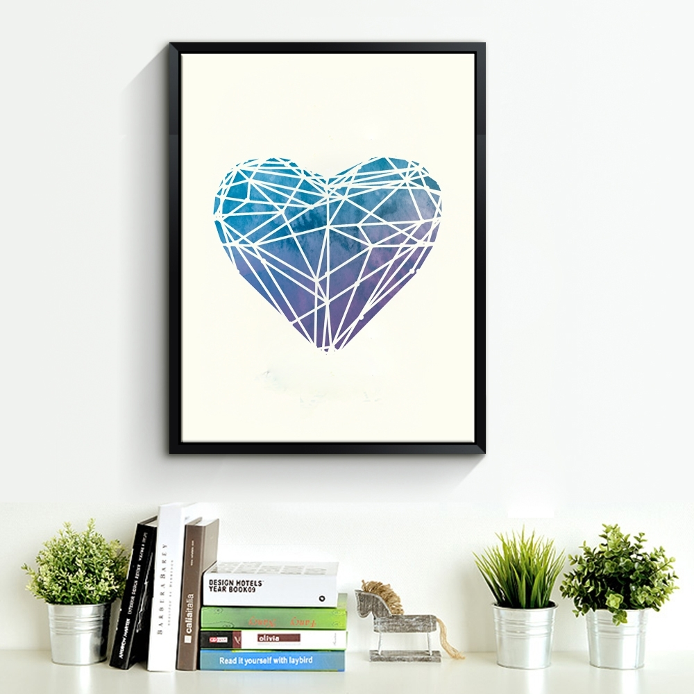 Watercolor Heart Canvas Art Print Poster, Wall Pictures For Home Throughout Most Popular Hearts Canvas Wall Art (View 15 of 15)