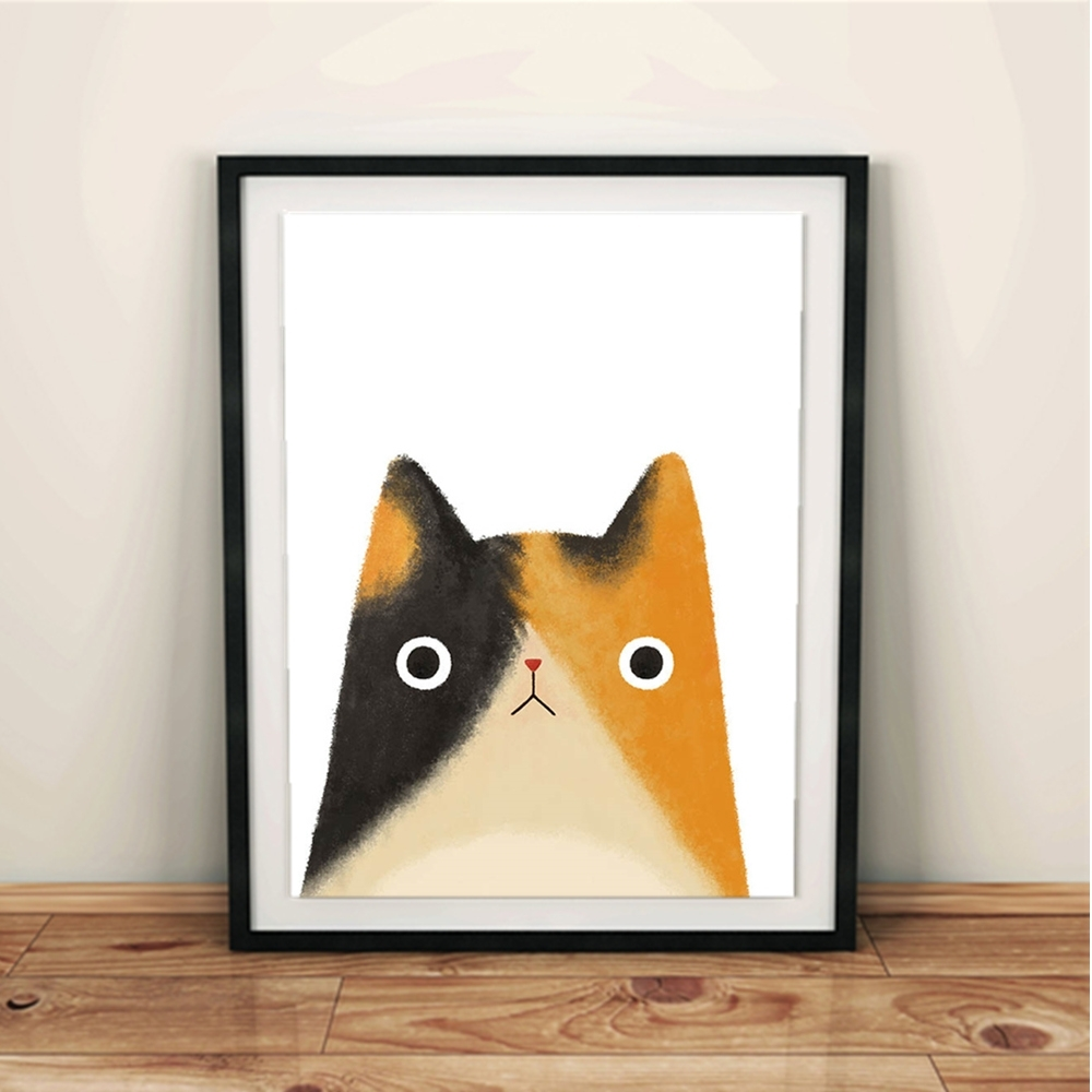 Watercolor Japanese Pet Cat Animal Art Print Poster Kawaii Wall Pertaining To Most Up To Date Framed Animal Art Prints (View 14 of 15)
